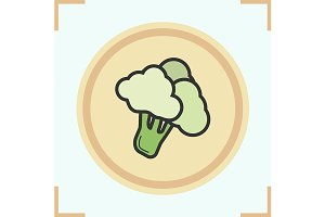Broccoli color icon. Vector