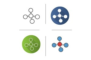 Molecule. 4 icons. Vector