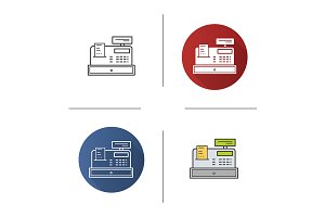 Cash register. 4 icons. Vector