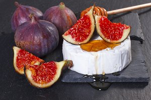 Figs, camemebert, honey