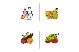 Grocery store products icons. Vector
