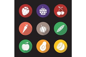 Fruit and vegetables 9 icons. Vector