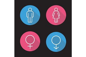 Gender symbols. 4 icons. Vector