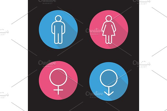 Gender symbols. 4 icons. Vector - Icons
