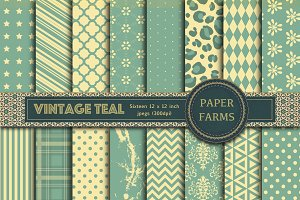 Vintage Teal digital paper