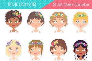 Flower Crown Girl Stickers