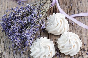 Dry lavender bunch and meringue
