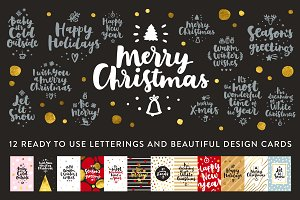 12 Merry Christmas Vector Set