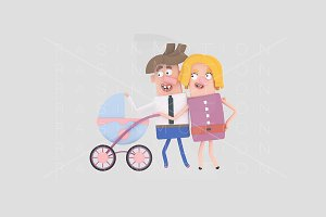 3d illustration. Young parents.