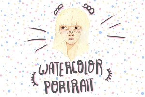 Watercolor blonde girl avatar