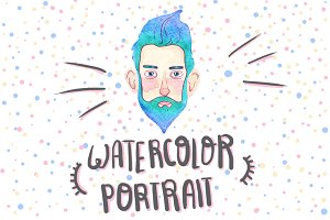 Watercolor hipster avatar