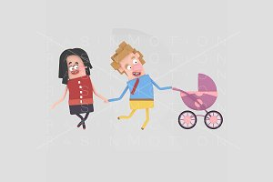 3d illustration. Parents  stroller.