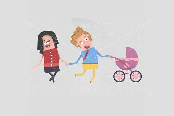 3d illustration. Parents stroller. - Illustrations