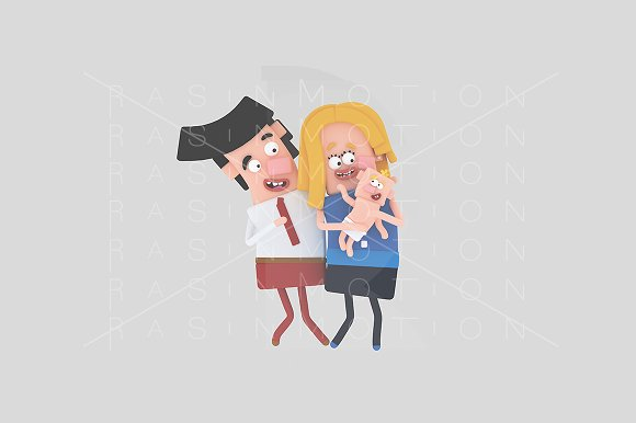 3d illustration. Parents baby. - Illustrations