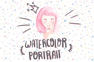 Watercolor pink-hair girl avatar