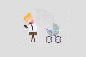 3d illustration. Daddy stroller.