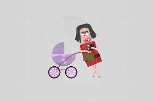 3d illustration. Mom stroller.