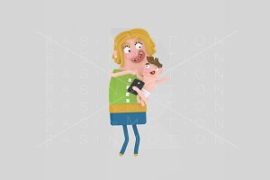 3d illustration. Woman holding baby.
