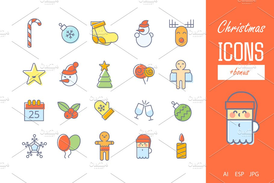 New Year & Christmas lI Icons Bundle