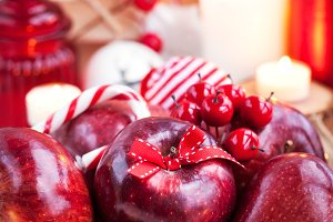 Xmas сomposition with red apples