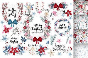 Christmas clipart wreath set 48 png