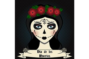 Day of the dead card. Girl with make