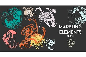 Vector marbling, ebru elements