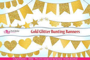 Gold Glitter Bunting Banner clipart