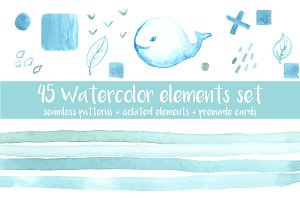 45 watercolor elements set
