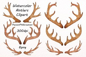 Watercolor Antlers Clipart