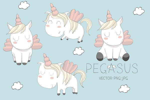 cute Pegasus illustrations. Set