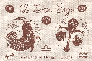12 Zodiac Signs / 3 Design + Bonus
