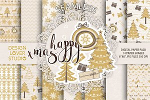 Gold christmas digital papers pack