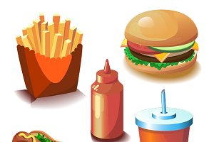 Colourful vector fast food set