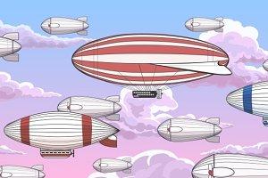 Vintage zeppelin horizontal pattern