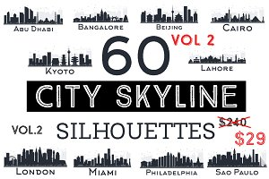 60 City Skyline Silhouettes Set 2