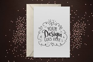 Sparkle Glitter Greeting Card Mockup