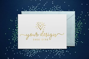 Greeting Card Blue Glitter Mockup