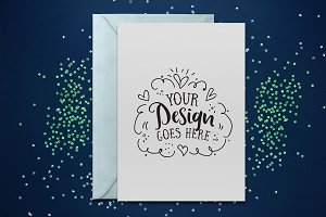 Blue Glitter Greeting Card mockup