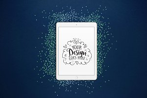 Tablet mockup with blue glitter