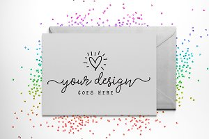 Rainbow Glitter Card Mockup + PSD
