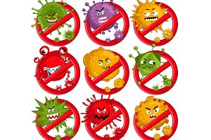 Stop virus cartoon characters