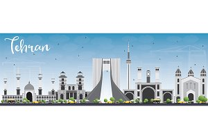 Tehran Skyline with Gray Landmarks