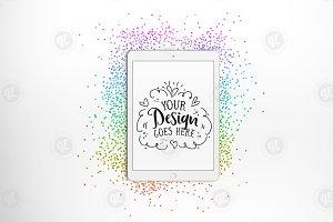 Rainbow Glitter iPad Mockup + PSD