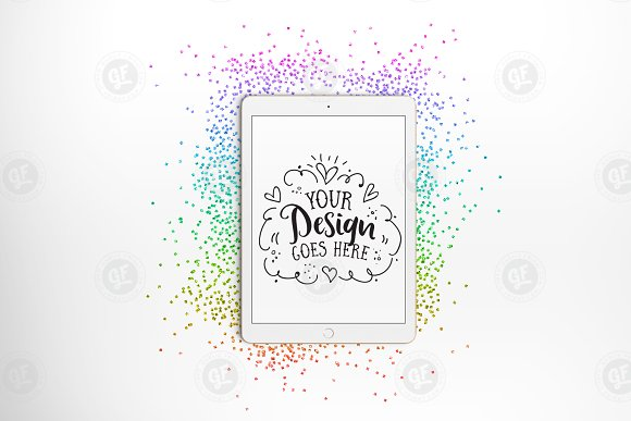 Download Rainbow Glitter iPad Mockup + PSD