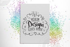 Rainbow Glitter Poster Mockup + PSD