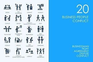 Business people conflict icons