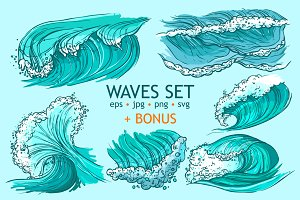 Waves Hand Drawn Set