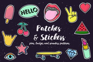 Patches badges stickers/Pop Art set
