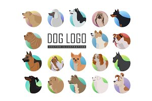 Set of Dog Vector Logos